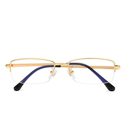 Mkulxina Anti-Blaue Brillenmode quadratischen Metallrahmen Brille für Frauen, Männer (Color : Gold)