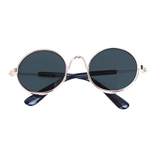 Katze Hund Tier Sonnenbrille Schutzbrillen Hundewelpen Runde Brille Mini (schwarz) (Tier-schutzbrillen)