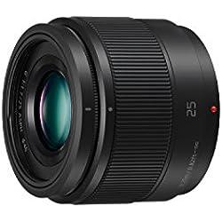 Panasonic Lumix Objectif à focale fixe pour capteur micro 4/3 25mm F1.7 H-H025E-K (Grand angle 25mm, Très Grande ouverture F1.7, Ultra compact, equiv. 35mm : 50mm) Noir - Version Française