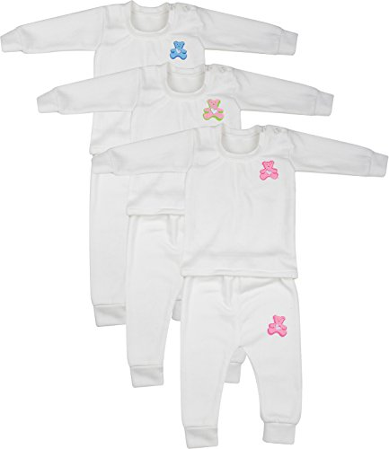 kuchipoo Unisex Regular Fit Thermal Top and Pyjama Set (KUC-THR-108_2_Off White_9-12 months)