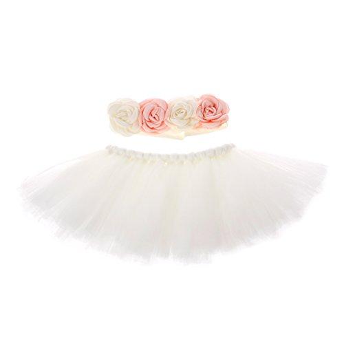 Xurgm Newborn Shooting Accessoire Outfits Baby Prinzessin Kostüm Tütü Rock Pettiskirt Mädchen Blumen Stirnband (S)