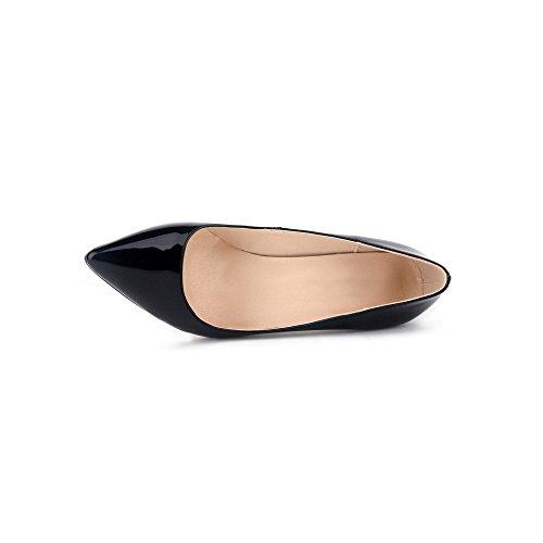 OCHENTA Femme Escarpins Talon Aiguille En PU Cuir Verni Classique Mode Soiree Mariage Chaussures Noir
