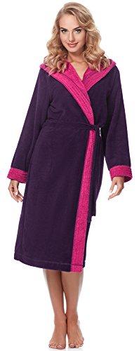 Merry Style Damen Bambusfasern Bademantel MSLL1001 (Aubergine/Amaranth, L)
