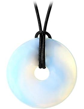 Kaltner Präsente Geschenkidee - Lederkette für Damen und Herren mit DONUT Anhänger aus Opalglas (Ø 40 mm)