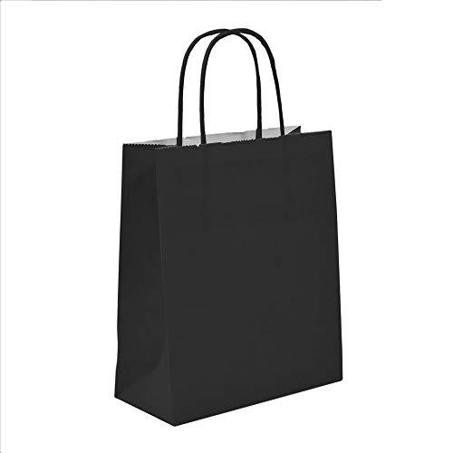 100x Schwarz Papier Geschenk Papiertragetasche mit gedrehten Griffen, 18cm x 22cm x 8cm Unipack Marke-unibags