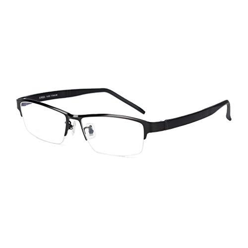 Axclg Reading glasses Read Optics Herren-Lesebrille: Modern Rectangle Half Frame Reintitan Supra mit Federscharnieren, Premium-Optiken mit UV-Blendschutz und Qualitätsgläsern