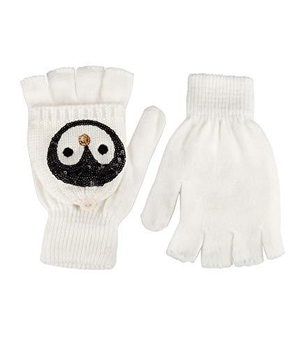 YSTRDY Handschuhe, Winter Warmer, Fäustlinge, Pinguin, Pailletten, weiß (424-405)