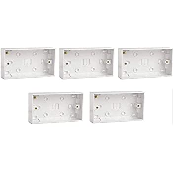 2 Gang Wall Pattress Outlet 5x 32mm Deep Twin Plastic Surface Mounted Back Box