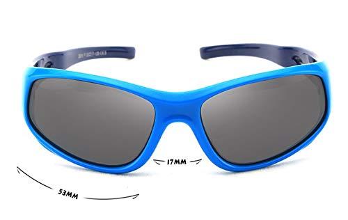 Jiaxingo Blue Rubber Kids polarisierte Sonnenbrille mit Bügel Brille Shades für Jungen Mädchen Baby und Kinder im Alter von 3-10