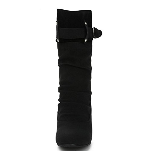 COOLCEPT Femme Talon Bas Slouch Bottes Mid Calf With Monk-Strap Black