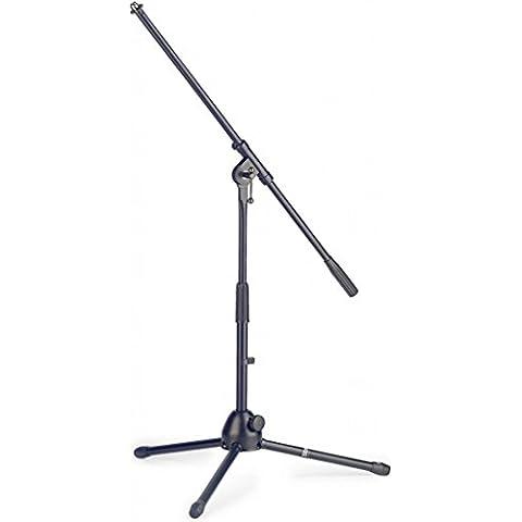 Stagg MIS-0804BK Asta per microfono bassa con gambe pieghevoli, a 2 sezioni