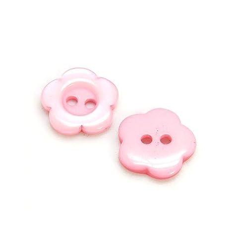 Paquet 20 x Rose Résine 15mm Boutons Fleur (2 Trou) - (HA14290) - Charming Beads