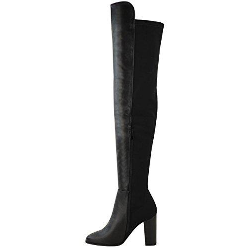 Neu Damen Damen Überknie Stiefel Hoch Schenkelhoch Blockabsatz Dehnbar Schuh Größe Schwarz Kunstleder