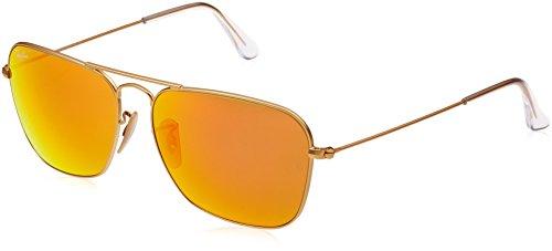 Ray Ban Unisex Sonnenbrille Caravan, (Gestell: Gold, Gläser: Orange Flash 112/69), Large (Herstellergröße: 58)