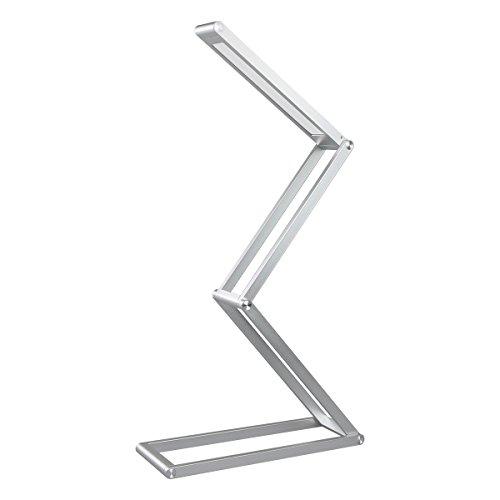 Elzo Lámpara de Mesa Portátil de Aluminio, Lámpara LED Escritorio USB Recargable con 2 Niveles de Brillo y Múltiples Ángulos Ajustables, Lámpara de Lectura Cuidado de Ojos, Plata