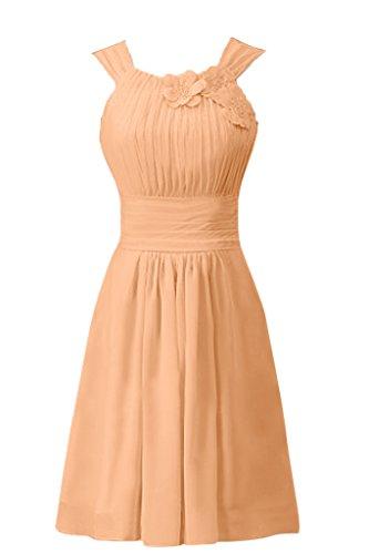 Sunvary Suess Neu Kurz Blumen Chiffon Falte 2015 Traeger Abendkleid Cocktailkleider Orange