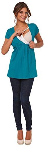 Happy Mama Damen Umstandsmoden Stillshirt in Wickeloptik Empire-Taille Top. 373p Wasser