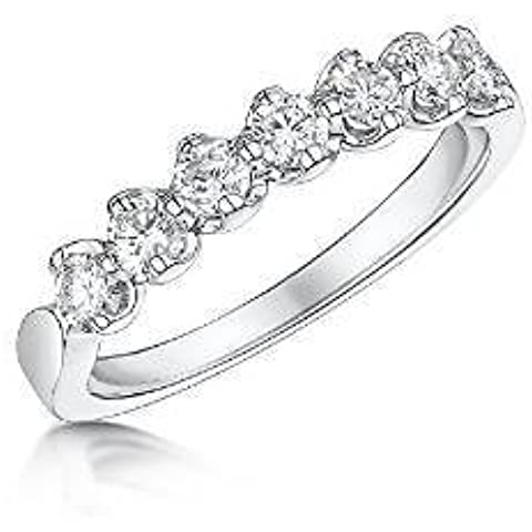 Charmbeads da donna in oro bianco 9 ct Half Eternity con diamante Special Unique-Anello da fidanzamento, da matrimonio anniversario 0,50 carati, larghezza: 2 mm-H-R misura - Genuine Diamante Bridal Set