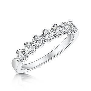 Charmbeads 9ct White Gold - Highly Polished - Half Eternity Diamond Ring 0.50ct (Q)