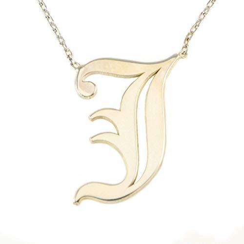Sterling Silber Alte Englische Schriftart J Anfangsbuchstabe Anhänger Halskette 45+5cm Kette (Farbe: Silber) (Alte Halskette)