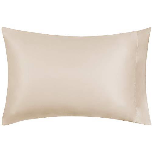 MIULEE 1 Stück Künstliche Seide Kopfkissenbezug Faux Silk Kissenbezug kissenhülle Bettkissenbezug Pillowcase für Sofa Schlafzimmer Bett, 50 cm x 75 cm Champagner -
