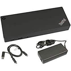 Lenovo USB-C/USB 3.0 Réplicateur de Port de INCL. Chargeur (135W) Original pour la Serie 300e ChromeBook 2nd Gen MTK (81QC)