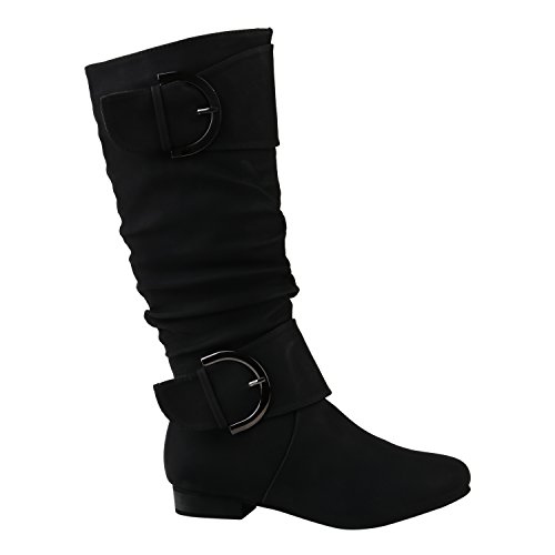 Klassische Damen Stiefel Schnallen Leder-Optik Booties Schuhe 144282 Schwarz Schwarz 38 Flandell