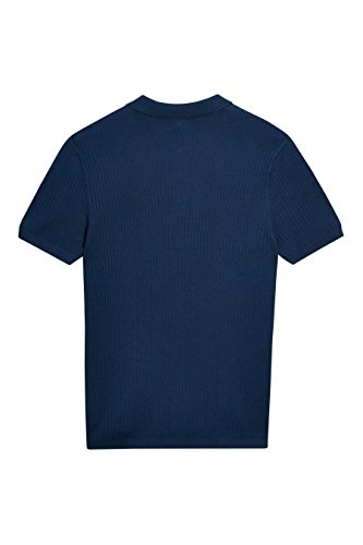 next Herren Geripptes Poloshirt Normale Passform Kurzarm T Shirt Polo Top Marineblau