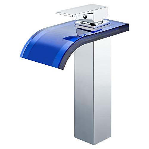 Waschtisch Waschbecken Wasserfall Einhebel Armatur Blaues Glas Chrom Sanlingo -