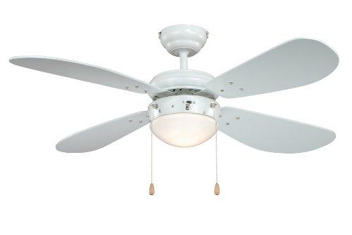 Deckenventilator mit Beleuchtung Classic, Gehäuse weiß, Flügelfarbe weiß, 105 cm (Deckenventilator Mit Licht Weiß)