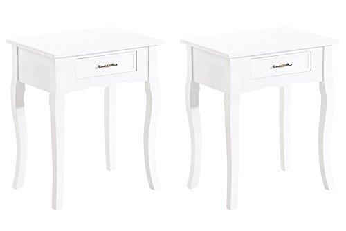 CLP-Set-di-2-comodini-PHIL-in-stile-rustico-un-cassetto-con-una-bella-maniglia-in-metallo-dallutilizzo-versatile-bianco
