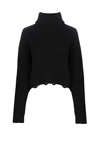 Noir Femmes aimee pull surdimensionné col roulé aspect vieilli Noir