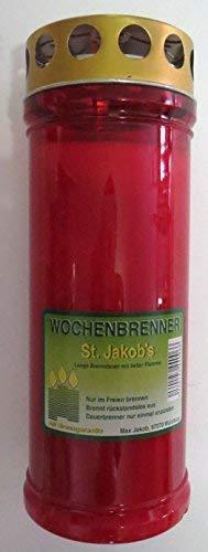 St. Jakob´s Kerzen - Grabkerzen in Rot mit Golddeckel - 24 STÜCK Grablichter mit Deckel - 7 Tage Wochenbrenner Grabkerzen - Friedhofskerze