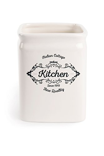 Excelsa fine quality porta utensili da cucina, ceramica, bianco avorio, dimensioni: 11.5 x 11.5 x 14.7