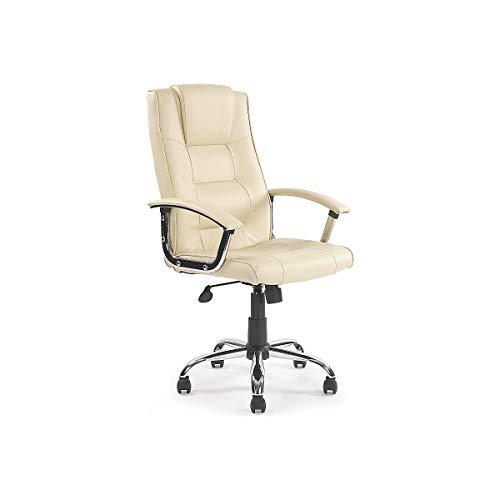 Certeo Lederstuhl Lubo mit Lederbezug und Armlehne, creme - Managerstuhl im italienischen Design - Chefsessel mit geschwungenen Armlehnen