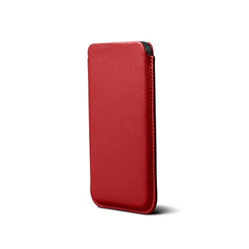 Lucrin - Housse iPhone 5/5S/SE Classique - Vert - Cuir Lisse Rouge