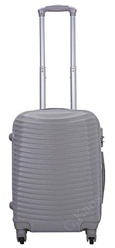 Trolley da cabina 55 cm valigia rigida 4 ruote 360° gradi in abs policarbonato antigraffio misura 55X38X22 art. 2030 (Argento)