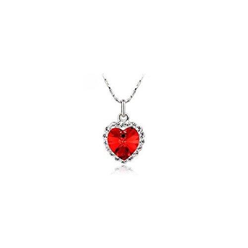 Collier coeur de l'océan cristal swarovski elements plaqué or blanc Rouge