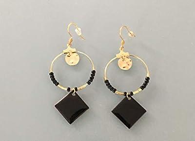 Créoles éthniques avec carré noir, Boucles d'oreilles créoles dorées, Créoles avec pendentif et pierres, Anneaux dorés, Bijoux dorés, bijoux cadeaux