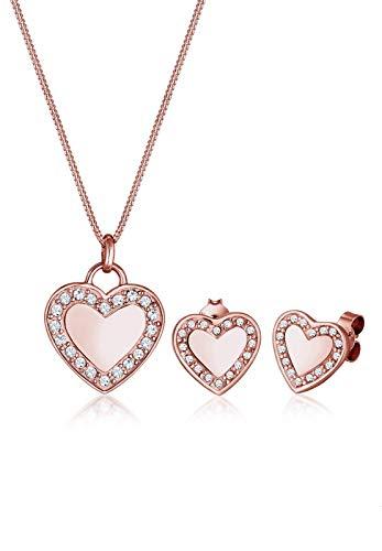 Elli Damen-Schmuckset Halskette + Ohrringe Herz 925 Silber Swarovski Kristalle weiß Brillantschliff - 0902540917_45 - 45cm Länge