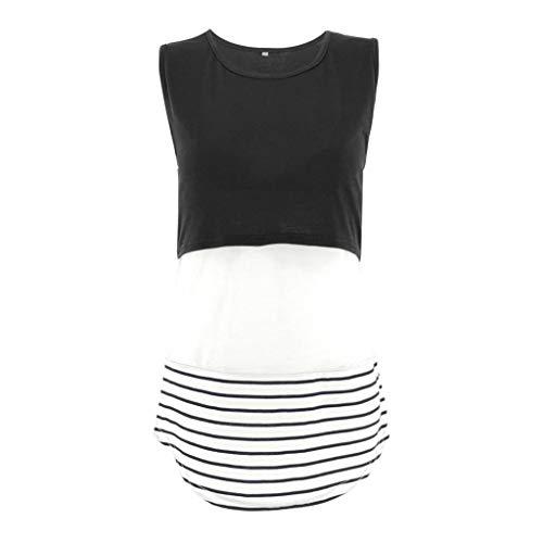 Mymyguoe Still-Shirt Damen Umstandstop Schwangeres Stillen Nursing Schwangerschaft Top Umstandsmode Damen Mutterschaft gestreift Stillende Oberteile Stitching Stillendes T-Shirt[Schwarz,M] -
