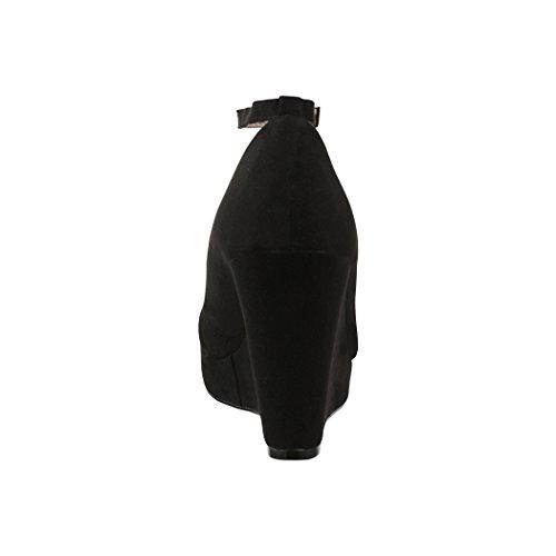 Elara Damen Pumps | Keilabsatz Wedges Plateau Schuhe | Chunkyrayan JA155 Black-40 - 5