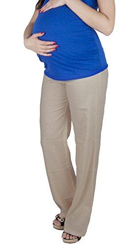 Mija – Leichte luftige Leinenhose für Schwangere mit Panel über Bauch/Umstandshose 3013 (38, Beige)