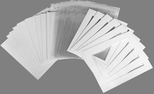"""20er-Pack–Foto-Passepartouts, Rückwände und Klarsichttaschen, weiß texturiert (grauweiß), gebrochenes weiß, 12""""x16"""" To Fit A4"""