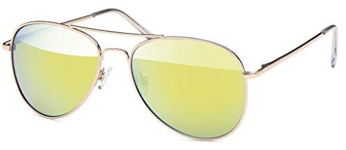 Pilotenbrille Sonnenbrille 70er Jahre Herren & Damen Sunglasses Fliegerbrille verspiegelt (Brille Aviator)