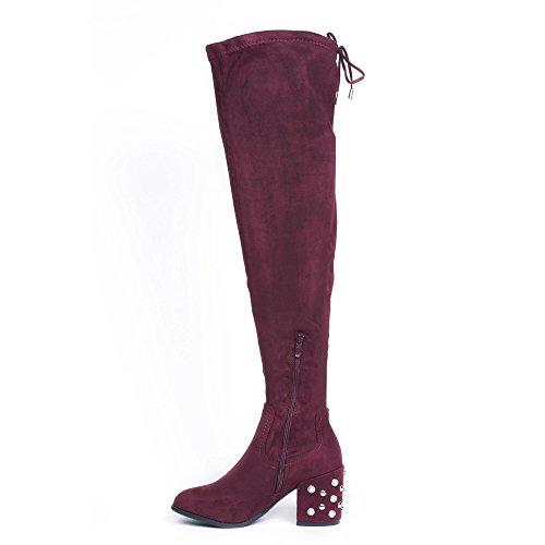 Ideal Shoes - Cuissardes effet daim avec talon carré incrusté de clous et strass Letitia Bordeaux