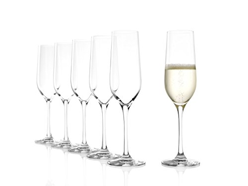 Stölzle Lausitz Sektgläser Classic 190ml, 6er Set Sektglas, spülmaschinenfest, hochwertige Qualität aus Kristallglas
