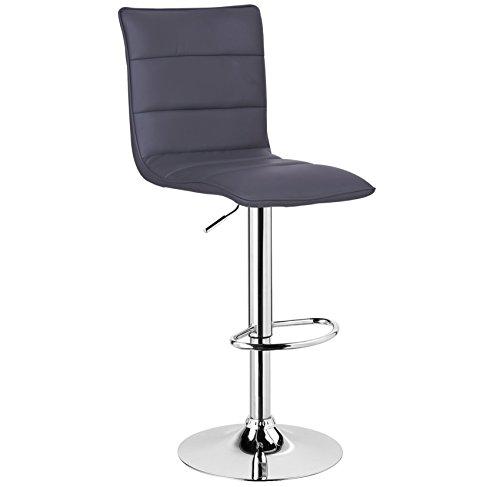 WOLTU BH15gr-1 1 x Barhocker Design Bar Hocker, 1 Stück Barstuhl, stufenlose Höhenverstellung, verchromter Stahl, Pflegeleichter Kunstleder, gut gepolsterte Sitzfläche, Antirutschgummi, Grau