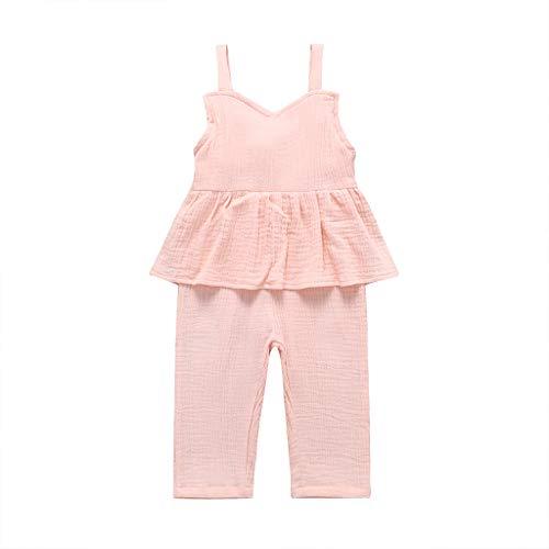 (i-uend Kinder Baby Sommer Kurzarm Set Weste Set Sleeveless Sling gekräuselte einfarbig Overall Jumpsuit Overall)