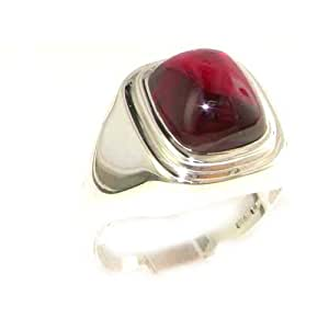 Gents Solid 925 Sterling Silver Cabochon Ruby Mens Mans Signet Ring, Made in England - Size N - Finger Sizes N to Z+3 Available - Ideal gift for fathers day, valentines, wedding, birthday, christmas, thanksgiving, grandfathers day, uncle, dad, son, nephew